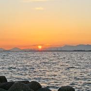 大阪湾の夕日「舞洲の磯」